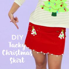Wear a tacky Christmas skirt to your holiday parties with this easy festive fashion style DIY video tutorial.