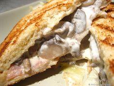Croque-monsieur au jambon, champignons et mascarpone