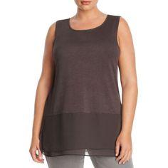 Nic and Zoe Plus Chiffon Hem Tank ($104) ❤ liked on Polyvore featuring plus size women's fashion, plus size clothing, plus size tops, phantom, womens plus tops, chiffon tank, plus size tanks and plus size chiffon tops