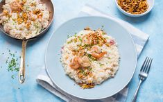 Bacon and nuts add some crunch to this creamy recipe. Nothing screams comfort food like a buttery & cheesy risotto. Warm up and enjoy a family dinner with this delicious dish as the nights get colder. Shrimp Risotto, Bacon, Tasty Dishes, Fresh, Dinner, Cooking, Ethnic Recipes, Food, Olive Oil