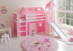 889b05bab030 Cabin Bed with Slide Kids Midsleeper in Pink Hideaway with Tent ...