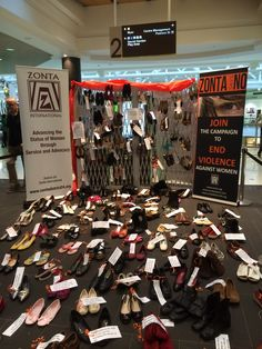 Zonta Club of Newcastle. Our display at Charlestown Square for White Ribbon Week.
