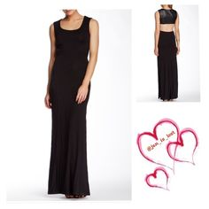 """❌HOLD FOR TKB_13 ❌Sky Leather Back Maxi Dress Genuine leather contrast back yoke maxi dress.  Scoop neck and sleeveless.  Approximately 60"""" long. 93% rayon 7% spandex Genuine leather back contrast. Also side slits!!  Sky Dresses Maxi"""