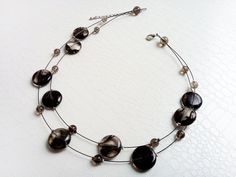Smoky quartz gemstones, multistrand necklace  by MercysFancy on Etsy
