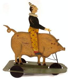 Pig with Clown Rider Vintage Circus, Vintage Tins, Victorian Toys, Toy Wagon, Pull Along Toys, Pull Toy, Toy Trucks, Tin Toys, Wood Toys