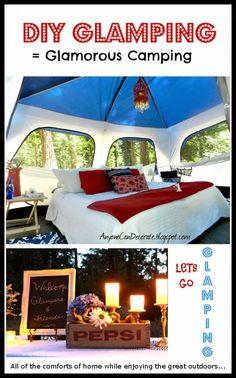 This is amazing. I love camping with bare necessities but if you're going to glamp, this shows you how to do it up right -  Gone GLAMPING... A DIY Glamorous Camping Trip from Anyone Can Decorate