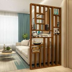 Living Room Partition Design, Living Room Divider, Room Partition Designs, Home Living Room, Living Room Decor, Dining Room, Wood Room Divider, Room Partition Wall, Dividers For Rooms