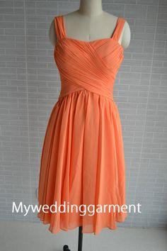 Knee length Orange Sweetheart Short Bridesmaid by Myweddinggarment, $88.00
