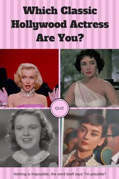 Classic Hollywood actresses were bold, independent, and graceful. They also had the ability to captivate a room upon entrance. If you ever wondered which classic Hollywood actress you most resemble answer a few questions and you'll find out!