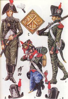 Capitano di fregata, caporale dei carabiniere del 2 btg. dalmata e cannoniere di 1 classe della marina del regno d'Italia nel 1804