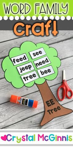 Word Family Craft (EE TREE) Students create the EE tree and then add the EE words. This makes a great learning center. Pre Reading Activities, Phonics Reading, Preschool Learning Activities, Language Activities, Teaching Reading, Teaching Kids, Kids Learning, Word Family Activities, Phonics Display