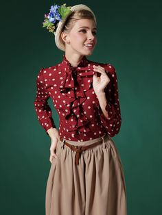 Surprised!!! Cute Little Girl and Red Polka Dot Falbala Shirt