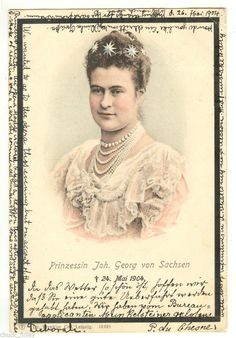 Mourning Card for Princess Maria Isabella of Saxony (1871-1904), wife of Johan Georg of Saxony.  Isabella was born a Duchess of Wurttemberg, daughter of Duke Philippe of Wurttemberg, and his wife, Archduchess Marie-Therese of Teschen.  Maria Isabella and Johan George had no children before her early death.
