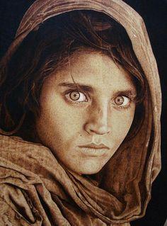 WOW! Steve Mccurry Sharbat Gula Afghan Girl 1984 Pyrography Woodburning by Roberto Hernandez Adames