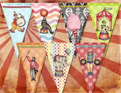 Vintage Retro CIRCUS BIRTHDAY Party Banner / by pinkpearlstudio, $4.25