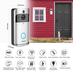 Check Out This Awesome Security Device - EKEN Video Doorbell 2 720P HD Wifi Camera Real-Time Video Two-Way Audio Wide-angle Lens Night Vision PIR Motion Detection App Control for IOS and Android with FREE Built-in 8GB Card and Two Batteries