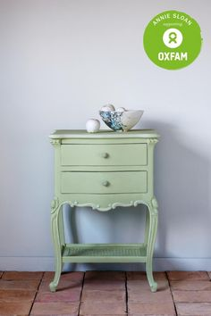 A side table painted in the new Chalk Paint® by Annie Sloan color... Lem Lem. Every pot of this color sold will raise vital funds for Oxfam, helping beat poverty worldwide.