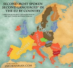 Second most commonly spoken second languages in Europe (mostly after English)