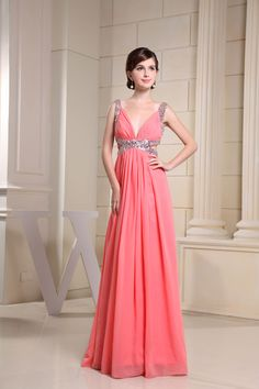 pink empire ruched a-line cut out chiffon sequins prom dress - Whoboxdress.com