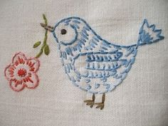 cute embroidered bird -- sometimes simplest is best, it made me smile to see this little bird.