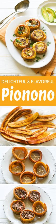 degrees F, turning over slices, after 8 minutes for about 20 minutes or till plantains turn slightly brown. Assemble Pionono (Method Use if frying only Puerto Rican Dishes, Puerto Rican Cuisine, Puerto Rican Recipes, Veg Recipes, Dinner Recipes, Cooking Recipes, Banane Plantain, Hispanic Dishes, Boricua Recipes