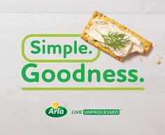 How to snack simple with Arla: Step 1) Grab a cracker. Step 2) Spread Arla Herbs & Spices cream cheese, free from added stabilizers or thickeners like xanthan gum. Step 3) Improvise. #LiveUnprocessed