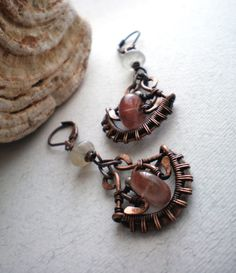 Wire wrapped copper earrings with tourmaline and by BikiLine