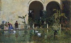 Estanque en los jardines del Real Alcázar de Sevilla, Raimundo de Madrazo y Garreta. Óleo sobre tabla, 10 x 16,4 cm, 1868. Cuadro de gabinete.