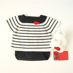 A knit sweater and a diaper cover with a red little by tenderblue