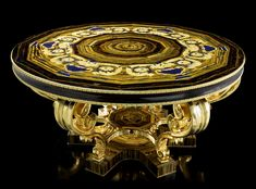 Table in tiger eye, hard stones inlay in yellow-gold marble from Sicily and lapis lazuli by Baldi Home Jewels Classic Furniture, Antique Furniture, Decorative Accessories, Home Accessories, Luxury Interior, Interior Design, Design Apartment, Classic Artwork, Gold Marble