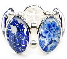 """New York, NY--Joolz Hayworth--Warning: this bracelet may cause spontaneous conversation! Our signature stretch bracelet features five clear resin bubble cameo """"Joolz"""" set in either plated or enameled settings. Blue Willow China, Blue And White China, Blue China, Love Blue, China Art, Color Blue, Broken China Jewelry, Willow Pattern, Stretch Bracelets"""