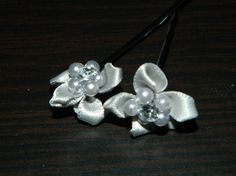 These adorable satin flowers w/pearl & rhinestone centers ( Set of 4)