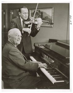 History Lovers Club @historylvrsclub  Photograph of President Harry S. Truman Playing the Piano While Jack Benny Plays the Violin