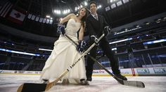 Goin' to the ice rink and we're gonna get married.   Congratulations #AlishaandLanny! Story: https://www.nhl.com/news/colorado-avalanche-wedding-at-pepsi-center/c-280114832