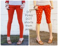 DIY Polka dot shorts from jeans!  Love these!