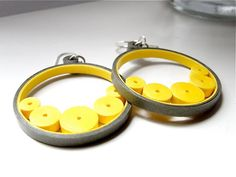 Handmade Yellow Circle Earrings / Yellow Olive Jewelry / Modern Dangle Earrings / Quilled Paper Earrings / Handmade Gift For Her