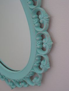 Vintage Ornate Hollywood Regency Oval Wall Mirror Syroco-Dart Up-Cycled in Distressed Tiffany Blue
