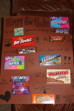 Cute idea for a childs b-day.  Candy used to make a personalized card.