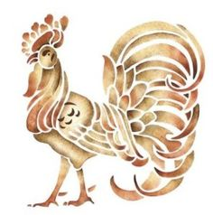 Our rooster stenciled on a glazed background with SayWhat? Description from…