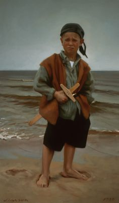 """Brock; The Age of Seven""   Jeffrey T. Larson oil on canvas ~ 62 x 36 inches ~ 1999"