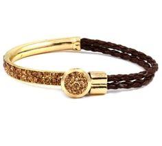 Braided Leather, 14k gold with Golden Druzy Quartz.