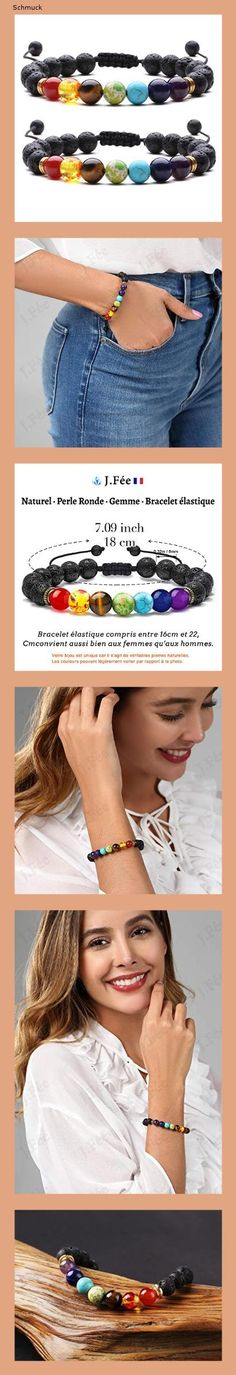 J.Fée Chakra Armband 8mm Perlenarmband Yoga Armband Armband aus Steinperlen Verstellbares Perlenarmband Damen Herren Edelstein Perlen Armband Energie Armband Valentinstag Liebhaber - 14ha