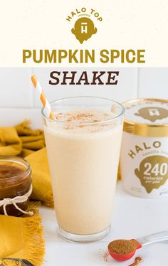 When your two favorite fall things come together, it's pretty magical. Try making this delicious Halo Top Pumpkin Spice Frappucino for yourself! Just blend Vanilla Bean Halo Top, pumpkin puree and Smoothie Drinks, Healthy Smoothies, Healthy Desserts, Healthy Drinks, Smoothie Recipes, Dessert Recipes, Diet Desserts, Snacks Recipes, Healthy Recipes