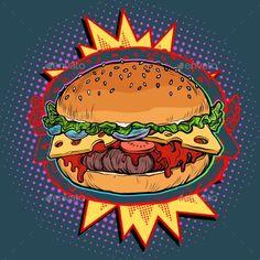Buy Hot Burger on Fire by studiostoks on GraphicRiver. hot Burger on fire, fast food restaurant. Burger Cartoon, Food Cartoon, Jones Bar, Burger Branding, Pop Art Food, Desenho Pop Art, Food Sketch, Food Advertising, Retro Vector