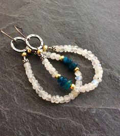 Inspiration ... Moonstone hoop earrings - boho dangle semi precious, summer chic by mollymoojewels
