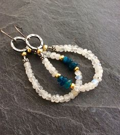 Moonstone hoop earrings - boho dangle semi precious, summer chic by mollymoojewels