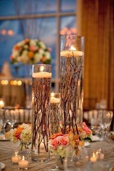 27 Rustic Wedding Decorations You Must Have A Look---floating candle wedding table settings with tree branches, fall wedding centerpieces, centerpieces branches 35 Rustic Wedding Decorations Diy Wedding, Wedding Flowers, Dream Wedding, Wedding Day, Trendy Wedding, Wedding Rustic, Rustic Weddings, Elegant Wedding, Wedding Events