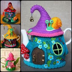 Crochet Tea Kettle Fairy House Cover with Free Pattern