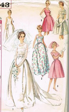 60s AUDREY STYLE WEDDING DRESS BRIDAL GOWN PATTERN