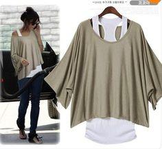 Livraison gratuite Date Taille automne Mode Plus Femme Lady manches chauve-souris lâche manches courtes T-shirt Twinset gilet Ceinture LBR9871